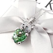 奥地利水晶项链--小熊心(橄榄)