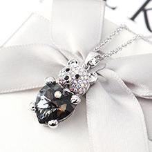 奥地利水晶项链--小熊心(银色魅影)