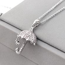 AAA级锆石项链--为你撑伞(白金)