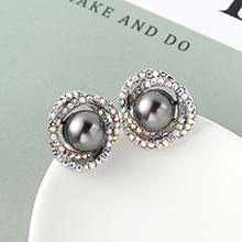 珍珠耳钉--花团锦簇(灰色)