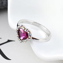 奥地利水晶戒指--爱是你我(紫红)