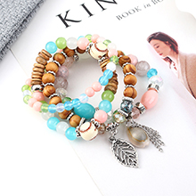 韩版时尚复古个性小树叶贝壳手链(彩色)
