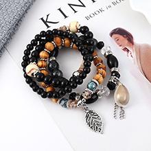 韩版时尚复古个性小树叶贝壳手链(黑色)