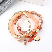 欧美复古风简约时尚心形手链套装(粉色)