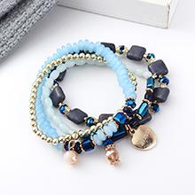 欧美复古风简约时尚心形手链套装(蓝色)