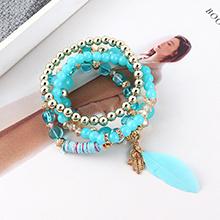 韩版简约时尚复古风手掌手链套装(青色)