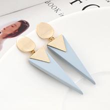 韩版镀真金创意简约时尚倒三角磨砂S925银针(14K金+海蓝)