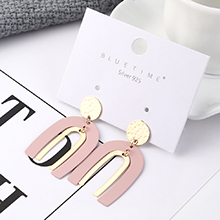 欧美简约个性时尚镀真金U形字母镂空S925银针(粉色)