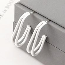 欧美时尚简约冷淡风镀真金小香蕉镂空S925银针(哑银)