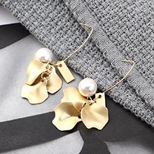 韩版百搭时尚冷淡风镀真金小荷叶珍珠耳环