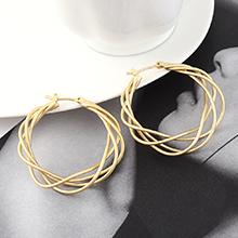 韩版个性时尚冷淡风镀真金圈圈网状镂空耳环