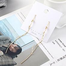 韩版大气时尚长款镀真金螺旋流苏S925银针