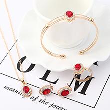 欧美简约复古时尚水晶玻璃套装(红色)