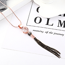 韩版时尚创意个性大水晶毛衣链(玫瑰金)