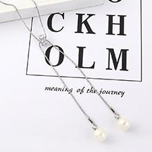 欧美气质复古百搭转轮珍珠毛衣链(白金)