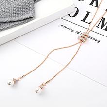 欧美时尚气质个性珍珠毛衣链(香槟金)