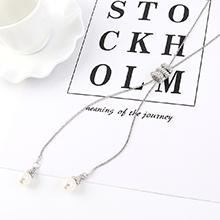欧美时尚气质个性珍珠毛衣链(白金)