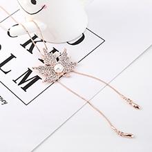 欧美时尚简约百搭小树叶叶子珍珠毛衣链(玫瑰金)