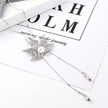 欧美时尚简约百搭小树叶叶子珍珠毛衣链(白金)