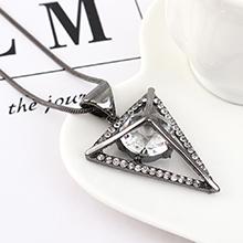 欧美时尚百搭个性倒三角水晶毛衣链(枪黑)