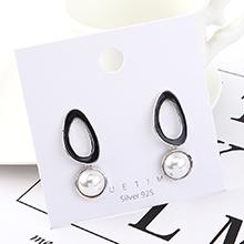 韩版时尚复古百搭镀真金珍珠镂空S925银针(白金)