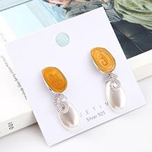 欧美百搭复古时尚镀真金螺旋珍珠滴油S925银针(白金+橘黄)