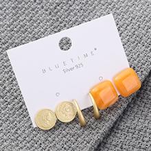 欧美气质简约百搭镀真金冷淡风印章方形S925银针(橘色)