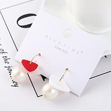 韩版百搭创意时尚镀真金小三角珍珠S925银针(红色)