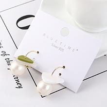 韩版百搭创意时尚镀真金小三角珍珠S925银针(绿色)