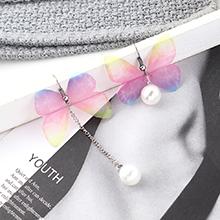 欧美时尚简约小清新镀真金不对称花蝴蝶耳