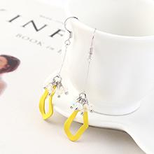 韩版创意时尚百搭风镀真金小荷叶流苏耳环(黄色)