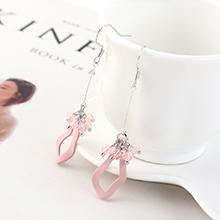 韩版创意时尚百搭风镀真金小荷叶流苏耳环(粉色)