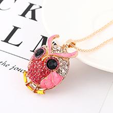 韩版时尚个性创意夸张猫头鹰头像项链(粉色)