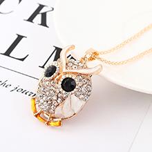 韩版时尚个性创意夸张猫头鹰头像项链(白色)