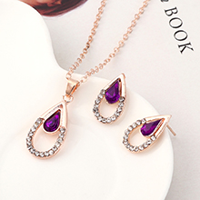 欧美时尚气质个性大气百搭小桃心套装(紫色)
