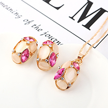 欧美时尚百搭个性创意猫眼石套装(紫红)