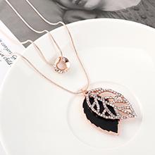 欧美创意时尚个性气质百搭小圈圈树叶项链