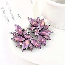 欧美时尚简约小清新百搭风小花朵耳环(紫色)