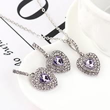 欧美时尚个性小清新百搭风小心心套装(紫色)