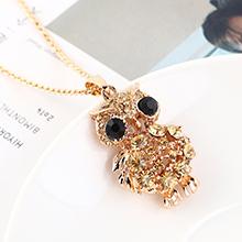 欧美创意时尚复古简约小清新小猫头鹰项链(香槟金)
