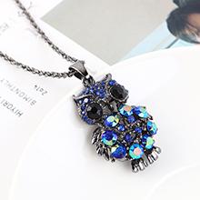 欧美创意时尚复古简约小清新小猫头鹰项链(枪黑+蓝色)