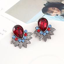 韩版时尚简约小清新百搭小叶子耳环(白K+深红)