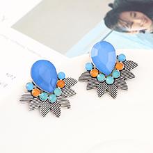 韩版时尚简约小清新百搭小叶子耳环(白K+蓝色)