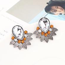 韩版时尚简约小清新百搭小叶子耳环(白K+白色)