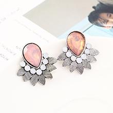 韩版时尚简约小清新百搭小叶子耳环(白K+粉色)