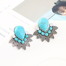 韩版时尚简约小清新百搭小叶子耳环(白K+青色)