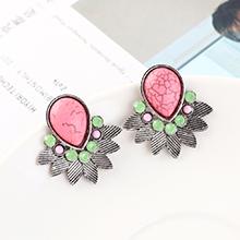韩版时尚简约小清新百搭小叶子耳环(白K+粉红)