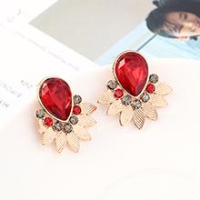 韩版时尚简约小清新百搭小叶子耳环(KC金+红色)