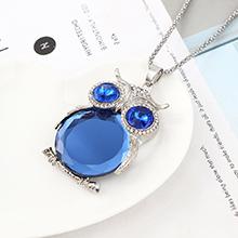 欧美时尚个性小清新百搭风猫头鹰项链(白金+蓝色)