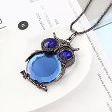 欧美时尚个性小清新百搭风猫头鹰项链(枪黑+蓝色)